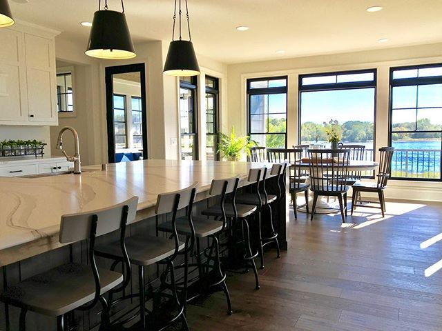 """Have you visited any of the four """"Dream Homes"""" on the Parade of Homes Twin Cities tour? Two days left to see this gorgeous one we staged for Homes by Tradition ~ #138 at 22101 Goose Lake Pass in Lakeville. Don't miss it! Open today and Sunday, 12-6pm. . . . #paradeofhomes #paradeofhomes2018 #paradeofhomestc #homesbytradition #stager #staging #ambiancehomestaging #stagedtosell #interiors #interiordesign #designer #homestyler #styledhome #homestager #homestaging #kitchen #kitchendesign #beautifulhome #mnhome #interiordesign #kitchenisland #kitchenideas #kitchensofinstagram #kitchensofinsta #makingmagichappen #lakehome #mnbuilder #lighting #pendantlights"""
