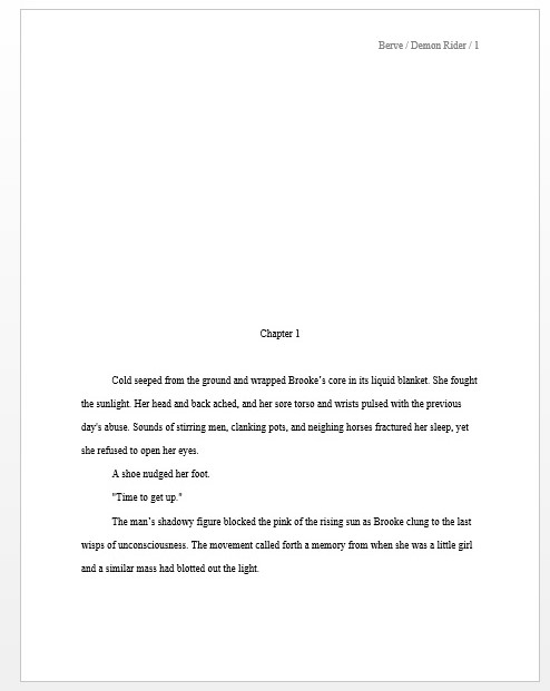 standard manuscript format for novel first story page example