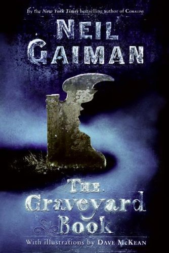 newest cover of Neil Gaiman's The Graveyard Book with dark blue background and a winged grey headstone