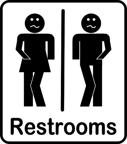 gender neutral bathroom sign with comical faces on the stick figures to pair with italics being used for words in a foreign language