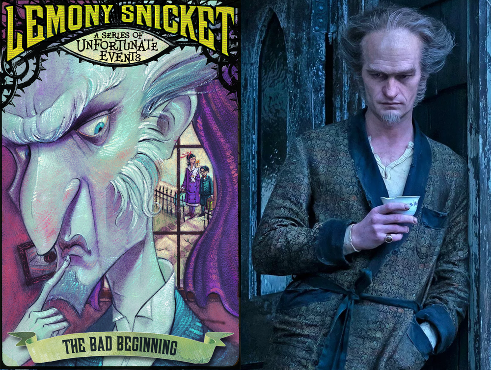 Lemony Snicket's a Series of Unfortunate Events book cover of the count next to an image of Neal Patrick Harris playing the count