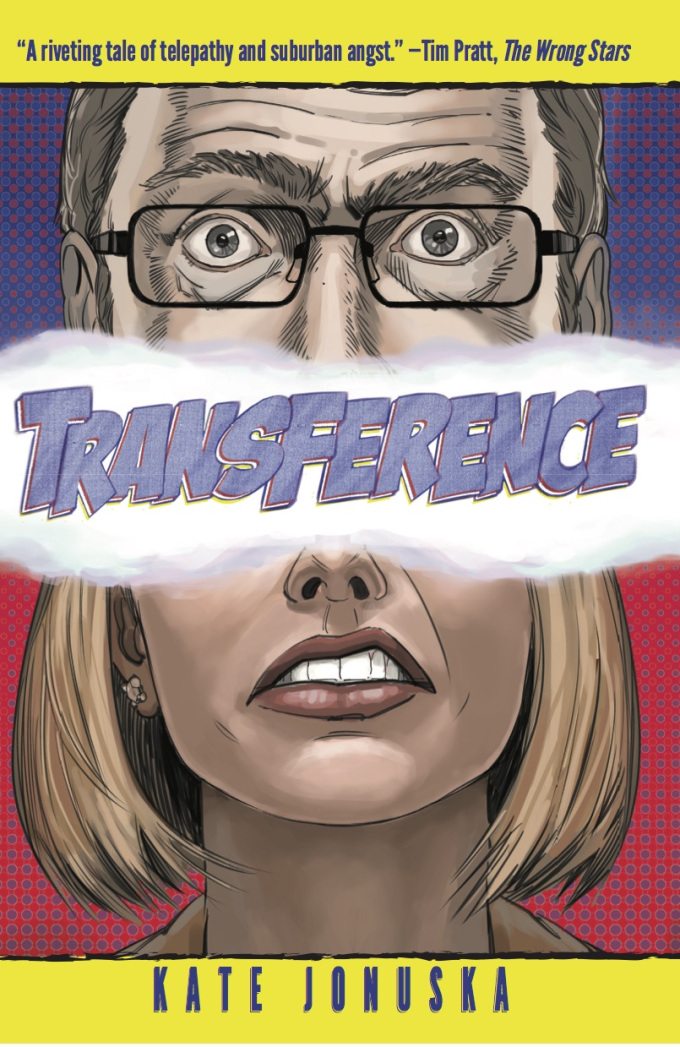 Transference book cover with the top half of a grey-haired man's head and the bottom half of a short haired woman's head drawn