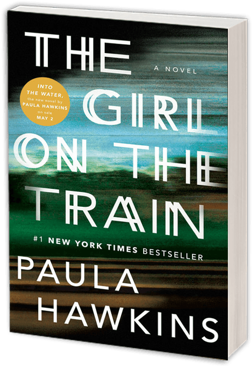 he Girl on the Train book cover with blue sky turning into grey clouds and a train track blurred as if going by