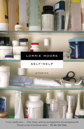 Self-help by Lorrie Moore new edition cover with pill bottles on the shelves of a medicine cabnet