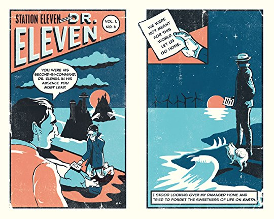 comic Station Eleven from the Station Eleven of a shadowed character on a twilight beach