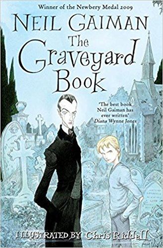 cover of The Graveyard Book by Neil Gaiman with Silas and Bod standing in front of the graveyard