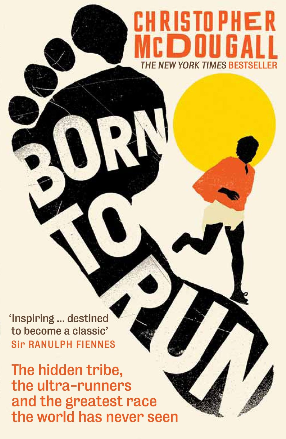 Born to Run by Christopher McDougal cover of illustrated man running and text arranged in a foot print