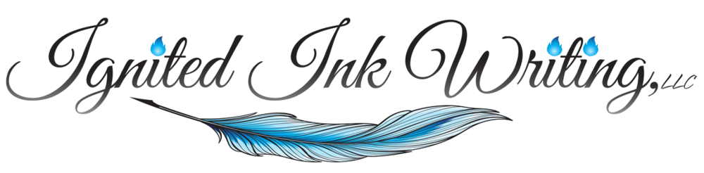 Ignited Ink Writing feather quill logo
