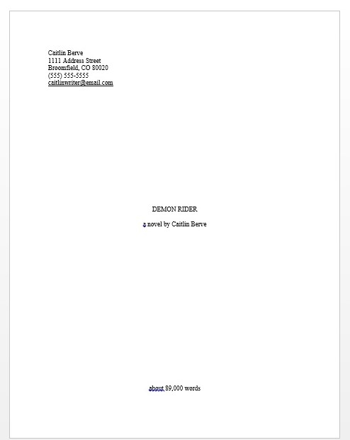 standard manuscript format for novel cover page example