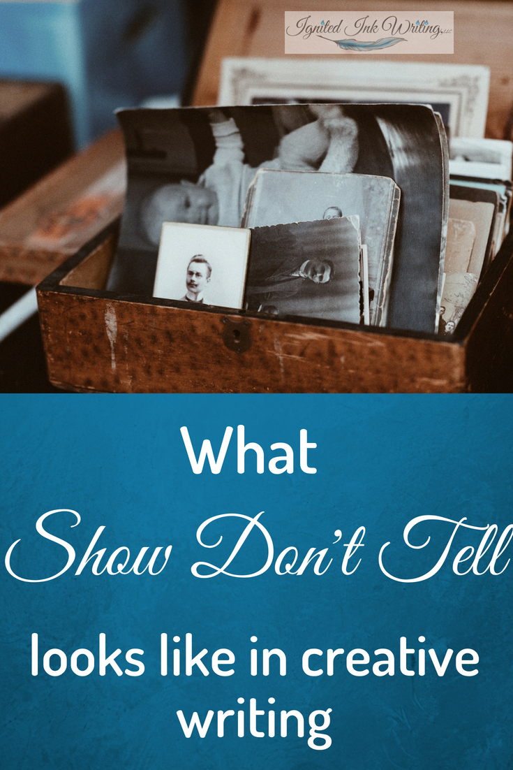 """Any writer who's had taken a writing course or been a part of a critique group has probably heard the phrase """"show don't tell."""" You may have even said it yourself. Why should you show? Showing — especially in instances like backstory, setting, and emotion where telling is easy — will advance your plot and deepen your characters.  To improve your writing skills, check out 13 writing craft books every writer should explore:  https://www.ignitedinkwriting.com/13-writing-craft-books-list"""