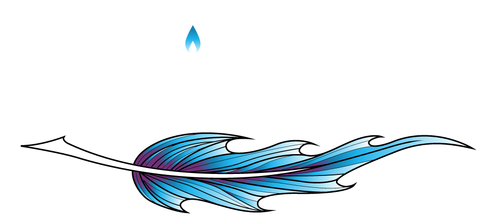 blue feather with the tip transforming into blue flame to represent the brand Ignited Ink Writing, LLC