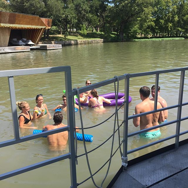 Swim and Pedal on the Pedal Barge #atx #austintx #austin360 #lakeaustin