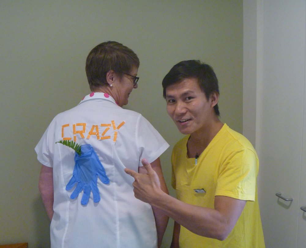 Terri and Robert got into the spirit of things with their crazy shirts