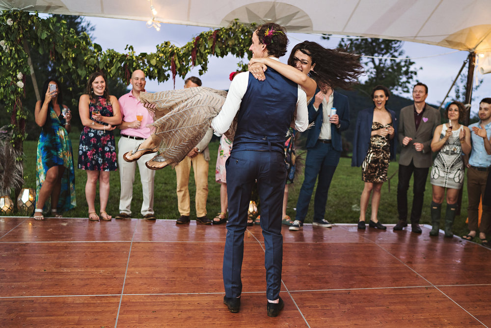 choreographed first dance tented reception