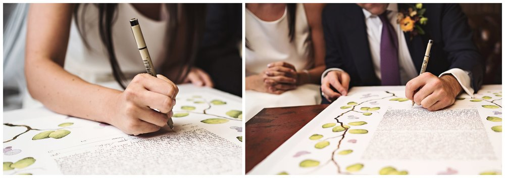 brooklyn winery wedding ketubah signing