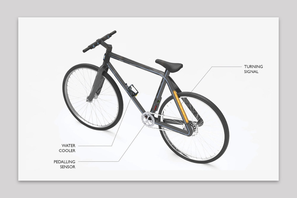 The final design can introduce many new features to the bicycle - 3D modeled a bicycle that uses attachments to track pedaling for helath monitoring,create a turn signal for enhanced safety, and keep bottled water cool for refreshment.