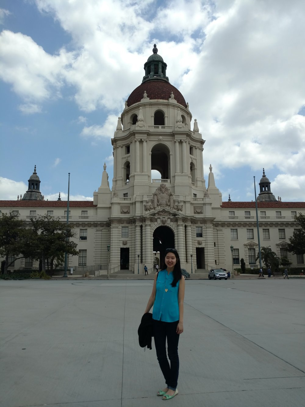 Sherrie at the Pasadena City Hall, set of the entrance scene of Parks and Rec, which inspires me daily at BERK.