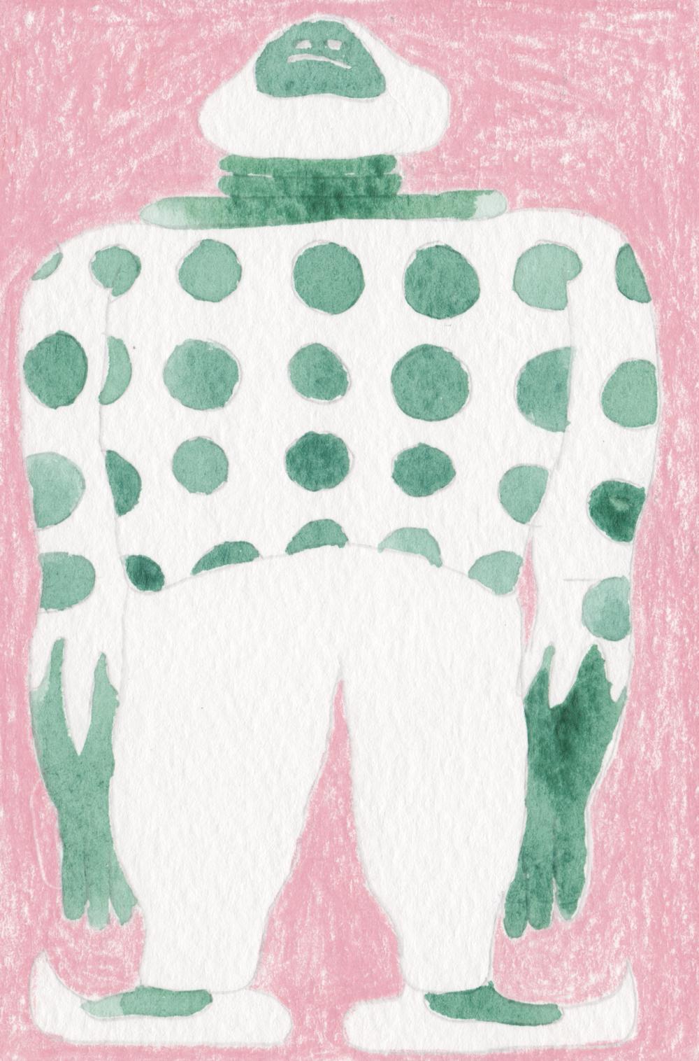 big man, pencil crayon and watercolor (fall 2016)