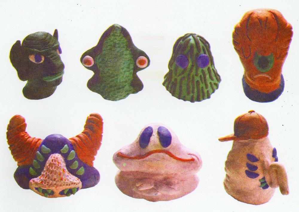 crohl's house plasticine heads, riso printed, april 2018