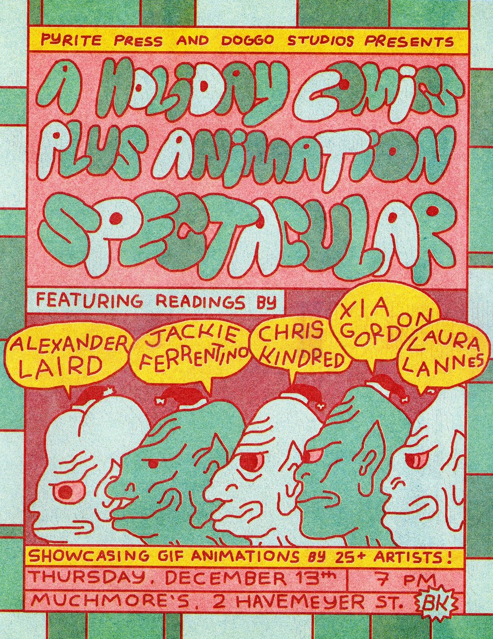 poster for comic reading in december 2018. printed on risograph. i was one of the readers!