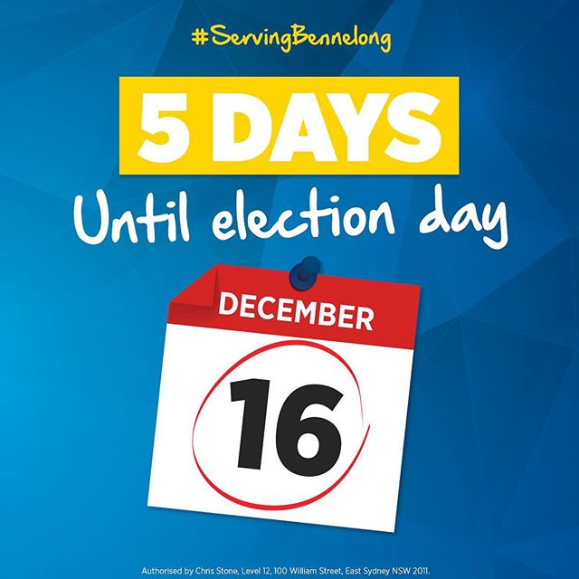 It's 5 days till the #Bennelong by-election and I need your support. There is more to be done and the Liberal team is working to strengthen our economy, put downward pressure on electricity prices, improve local transport and keep us safe. I ask for your support, so we can get on with the job.