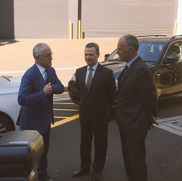 I'm in Macquarie Park with the @turnbullmalcolm and @pynechristopher visiting @raytheoncompany Australia supporting local jobs in #Bennelong. #ServingBennelong