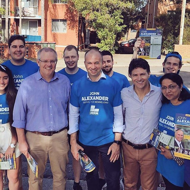 Great to have my wonderful volunteers and good friends @scottmorrisonmp, Victor Dominello MP, Matt Kean MP supporting me this morning at West Ryde. #ServingBennelong #BennelongVotes