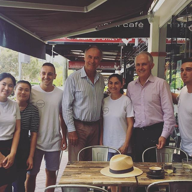 What a wonderful morning! Great to be joined by the PM @turnbullmalcolm and grab a quick coffee with the team at Dolcini Cafe at Putney and thank the #Bennelong community for once again putting their faith in me - I won't let you down. #ServingBennelong