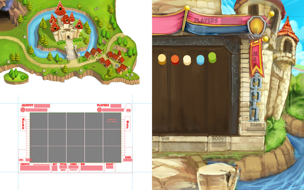 Most mini games start with reference for colors and style and a UI template to create around. With those in place I can start blocking in a fast and dirty painting, focusing mainly on the UI areas.