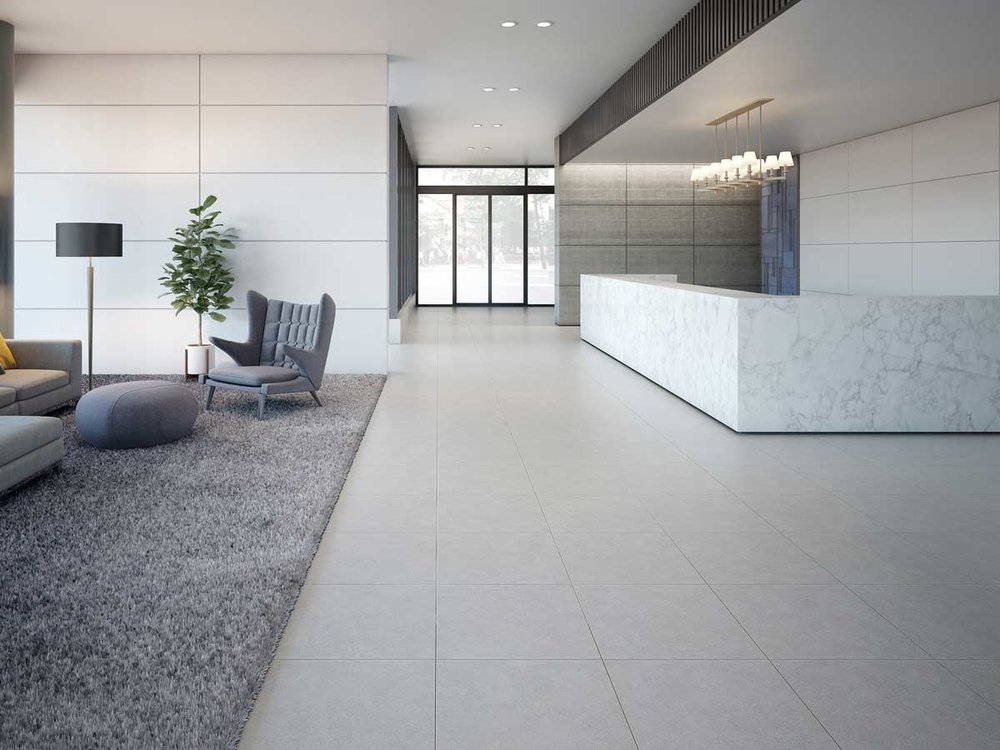 React Range - On close inspection, the simplistic design of this product is far from simple.  Fine etchings mixed with a mottled, almost concrete look bring this tile to life. The React range is available in 3 colourways; Ivory, Light Grey and Light Brown. Matt and External finish available in 600 x 600mm size format.