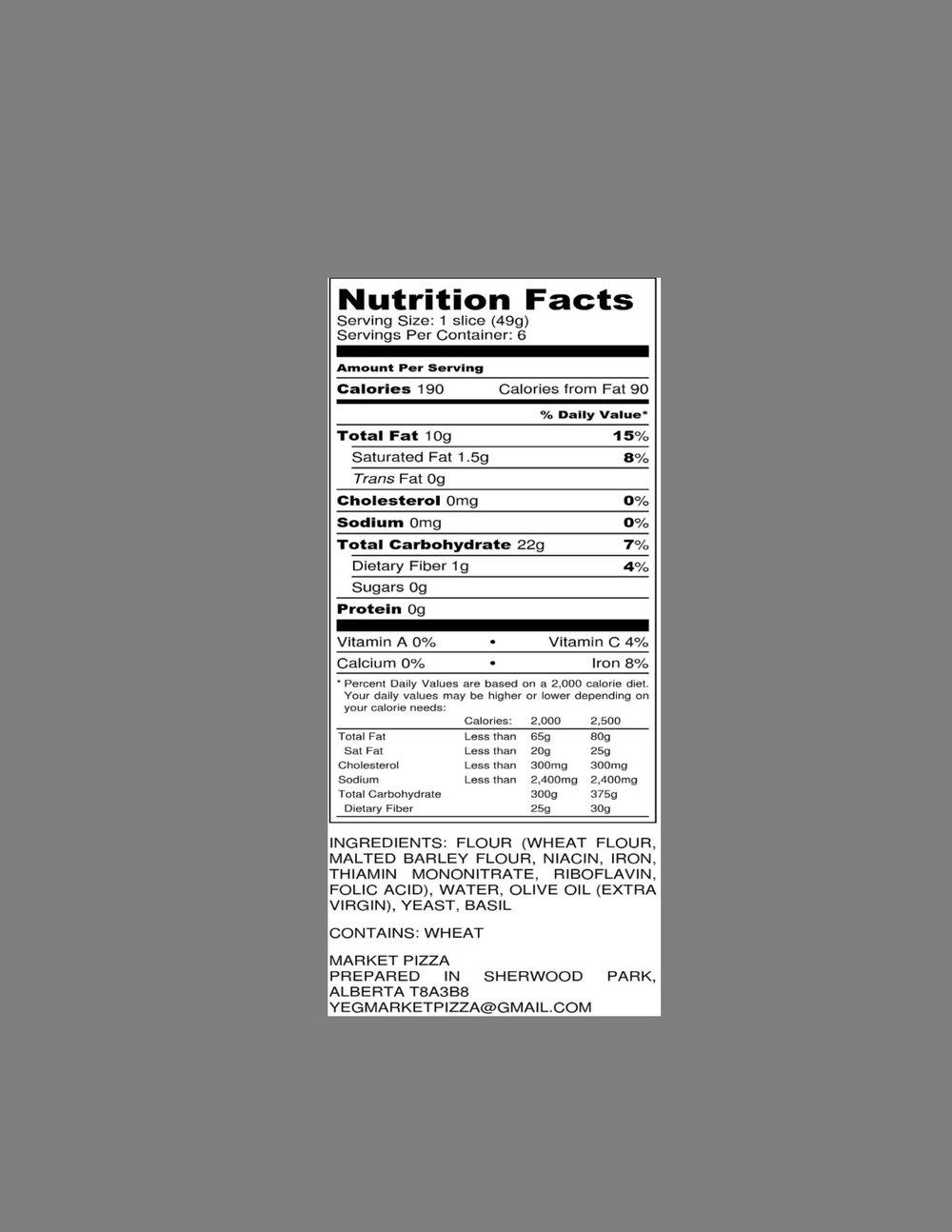 Our Pizza crust is: - Cholesterol free Sodium freeDairy freeSugar free