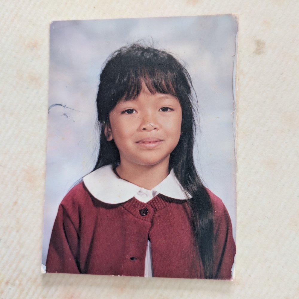 Me living my mom's hair dreams in 2nd grade
