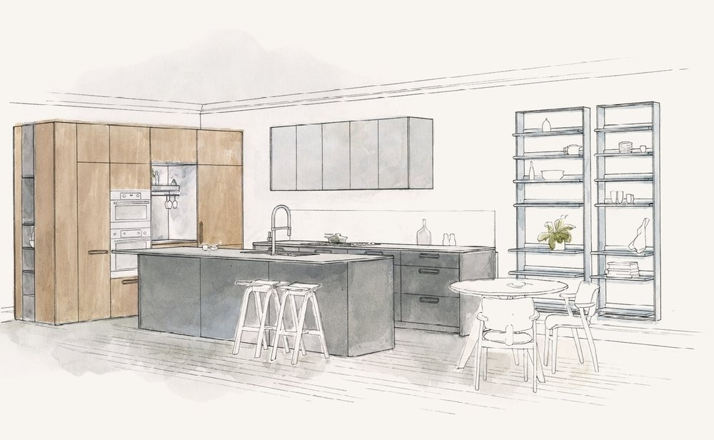 Tableau Kitchen System by Cantilever Design Office Illustration by Russell Bryant