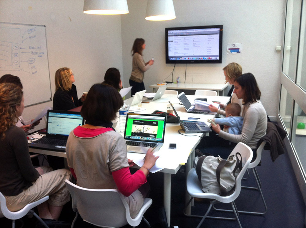 Me teaching a group of female entrepreneurs in Paris in 2012.