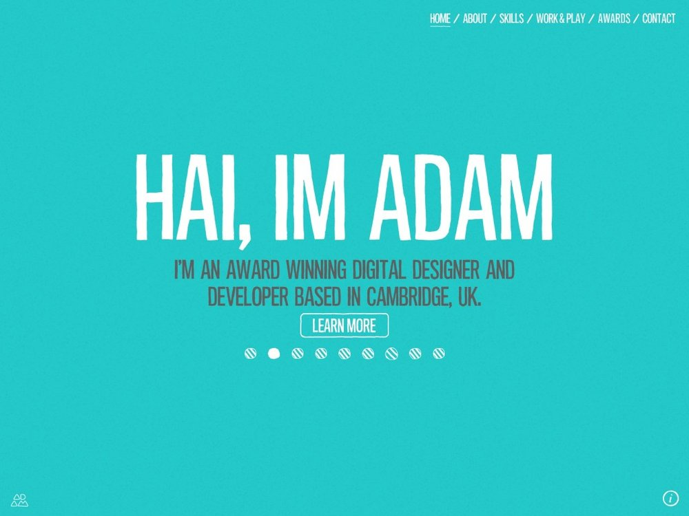 Portfolio website of Adam Hartwig. http://www.adamhartwig.co.uk