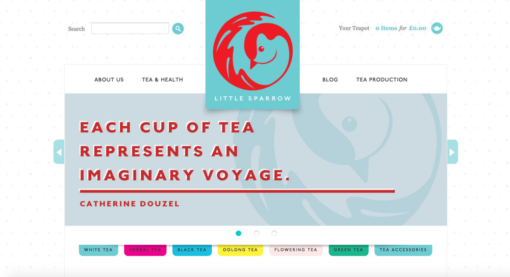 http://littlesparrowtea.com - here a rectangular slider has been created using colour and a version of their logo.