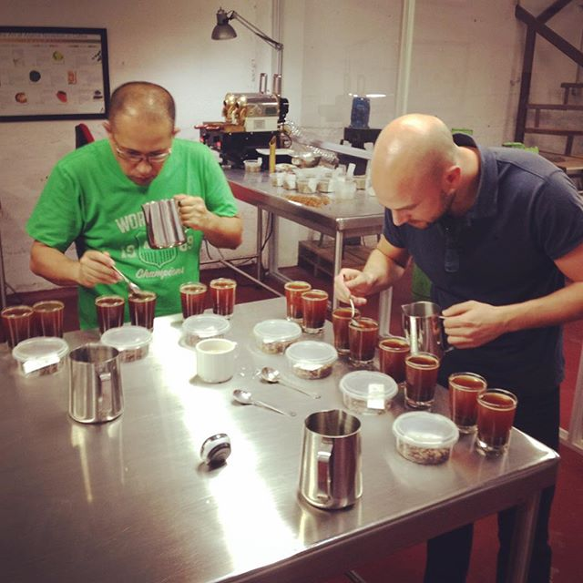 Cupping coffee in Colombia