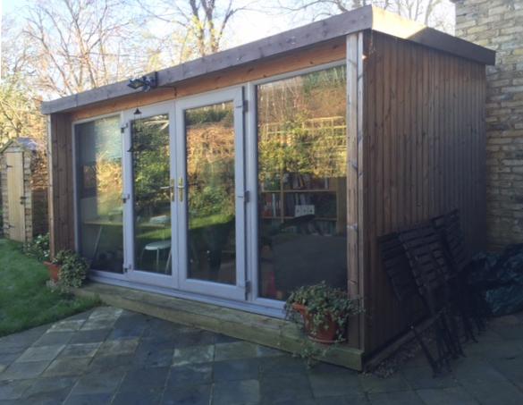 "Rachel Lankester's ""office"" in the garden"