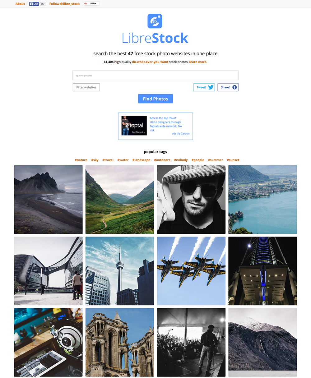 "http://librestock.com – a ""search engine"" for free images."