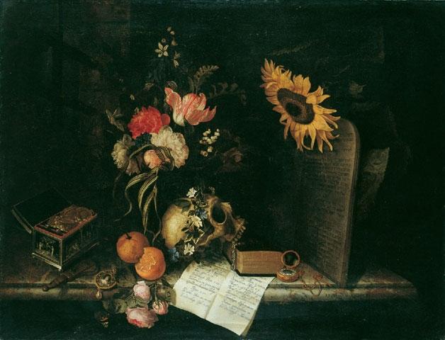 Maria van Oosterwijck (1630–1693)  Vanitas with Sunflower and Jewelry Box , c. 1665