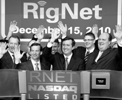 From the listing of Rignet on Nasdaq in December 2010. Ørjan Svanevik at the far left.    These photos are © Copyright 2009, The Nasdaq OMX Group and available for re-publication by the news media only. Any commercial use is strictly prohibited without the prior written consent of The Nasdaq Stock Market, Inc.