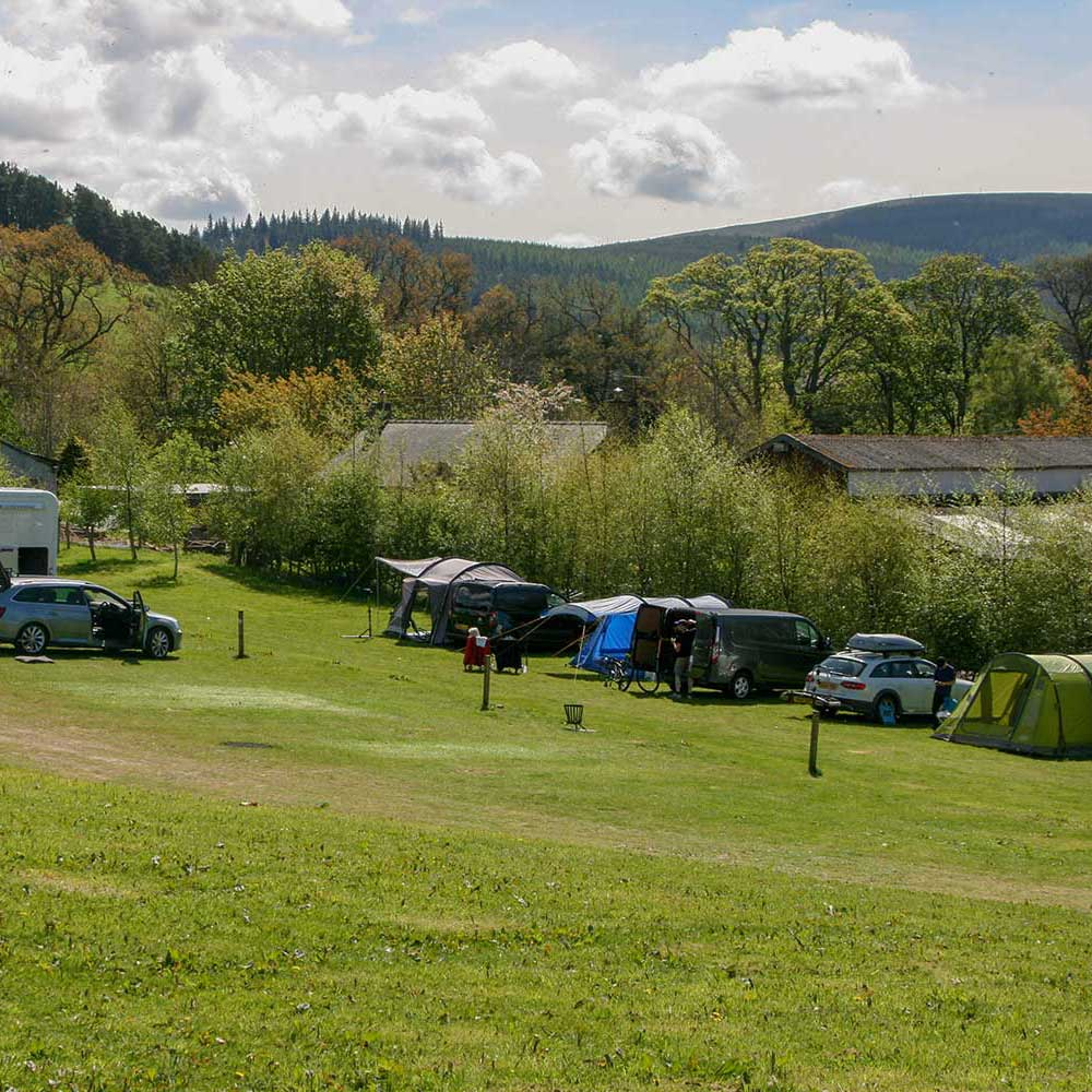Camping pitches at Glentress Forest Lodges
