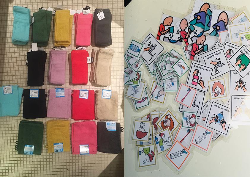 A gauche des serviettes et gants de toilette de couleur différentes pour chacun des enfants,   A droite des pictogrammes qui aident les enfants dans la compréhension des nouvelles activités hygiène