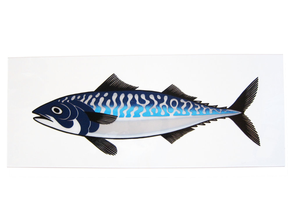 Mackerel. Enamel and Spraypaint on Perspex.