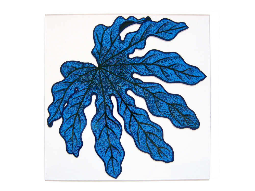 Japonica Leaf. Enamel on Perspex.