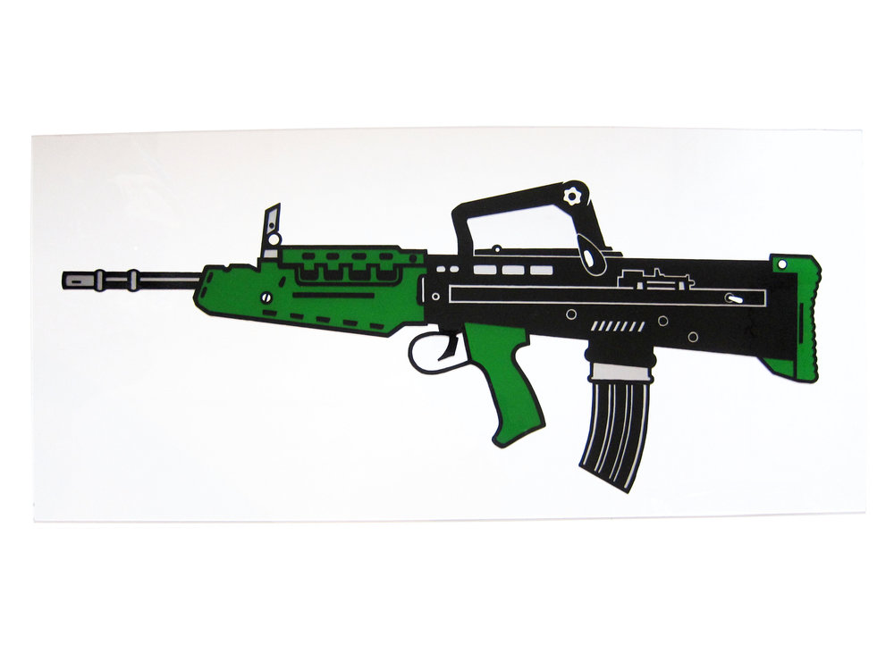 SA80 Rifle. Enamel on Perspex