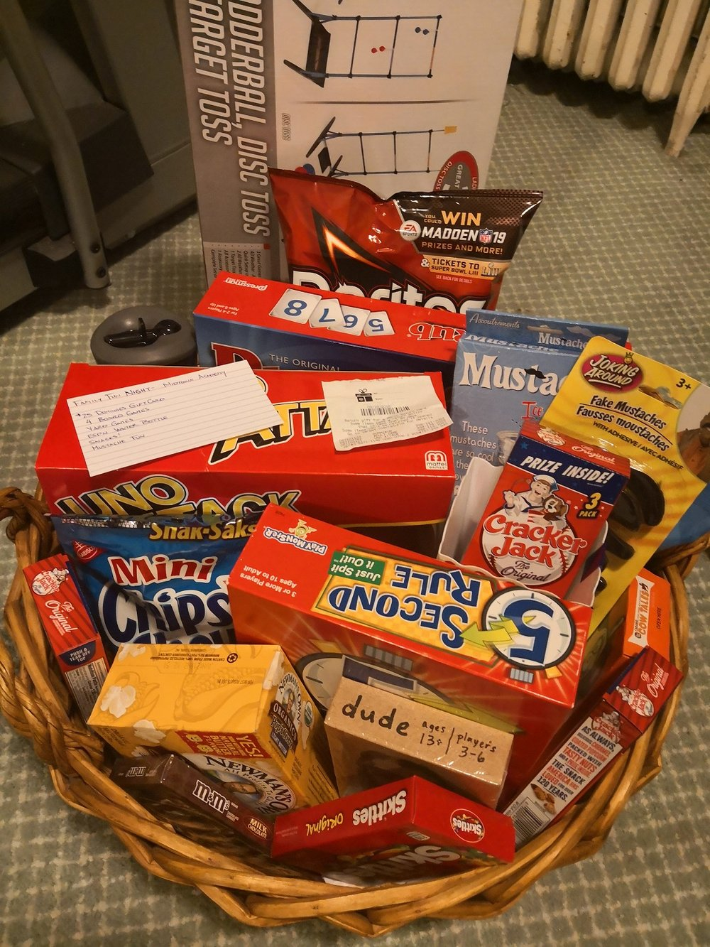 Sample Prize Basket - look at all the calories!