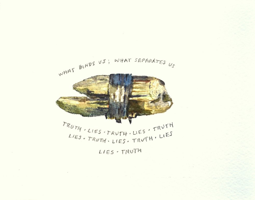 S. Sutro, Truth, Lies ,  watercolor+pencil, 13x17 (framed),  2017.jpg