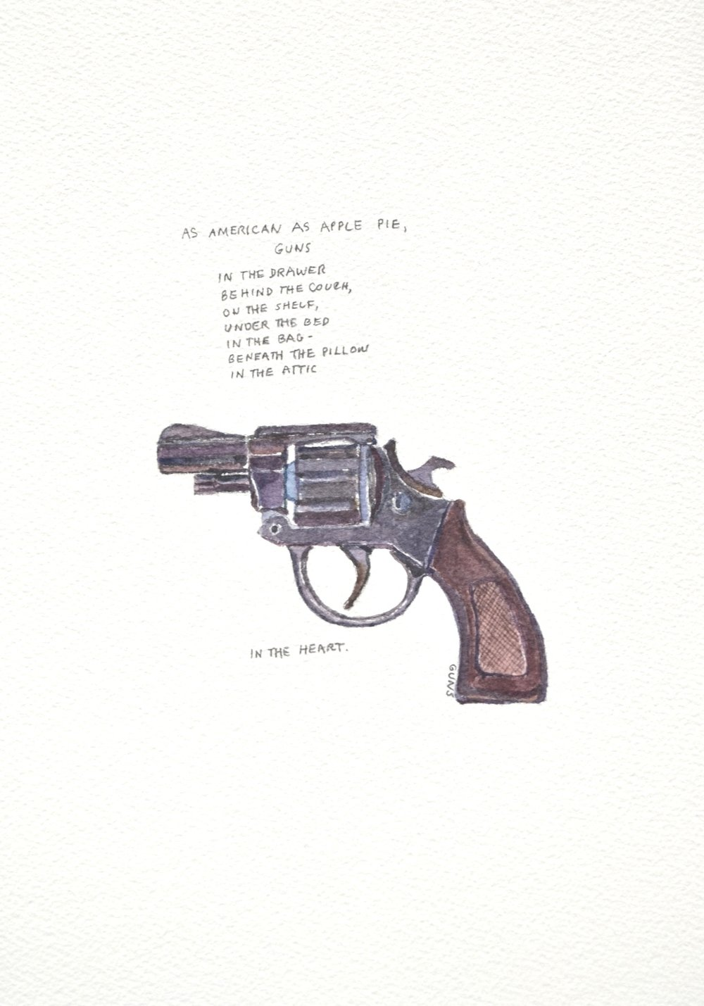 S. Sutro, Gun Series - As American as Apple Pie, watercolor+text, 15x11, 2014.JPG