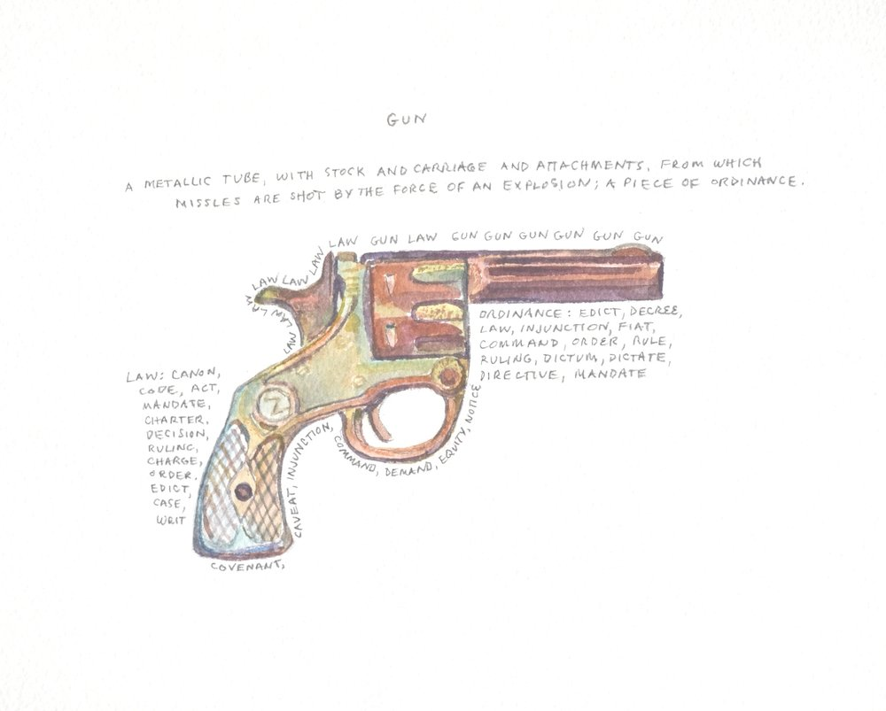 S. Sutro, Gun Series - Gun, watercolor+text, 11x15, 2014.JPG
